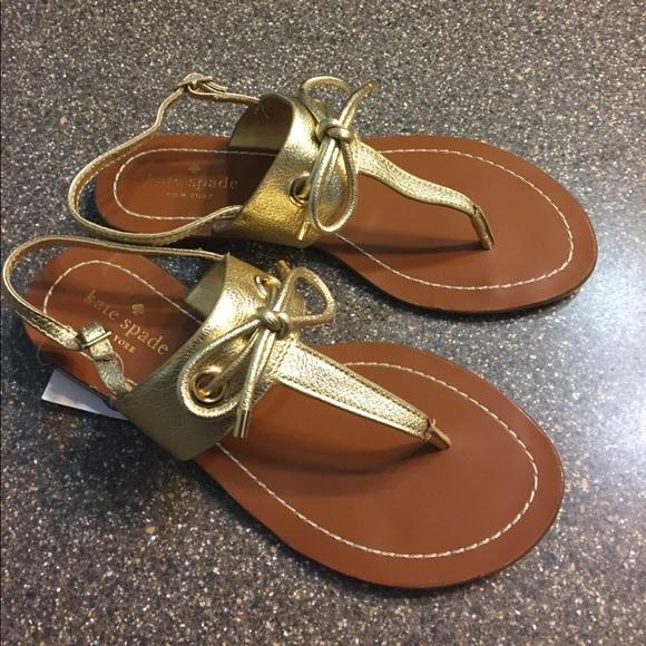 5c2a8a54a New Kate Spade Gold Carolina Thong Sandal