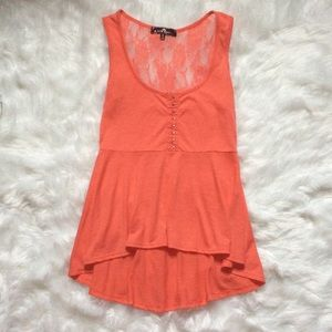 Tops - Coral peplum lace back blouse