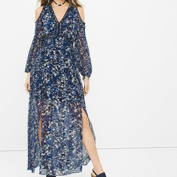 326251d3d8f Long sleeve cold shoulder floral maxi dress. NWT. White House Black Market