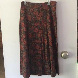 Vintage Floral Print Jersey Maxi Skirt