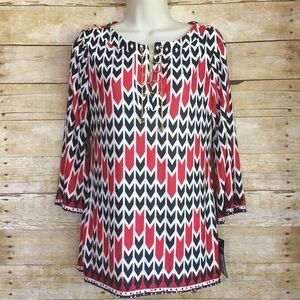 Ava & Grace Tops - Red white and navy printed blouse