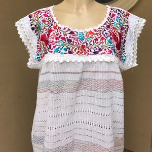Gorgeous Mexican Embroidered Oaxaca Blouse White