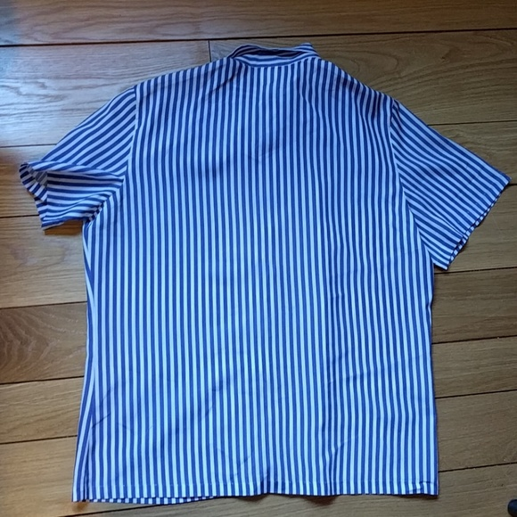 Vintage vintage blue white striped shirt with bow tie for Blue striped shirt with tie