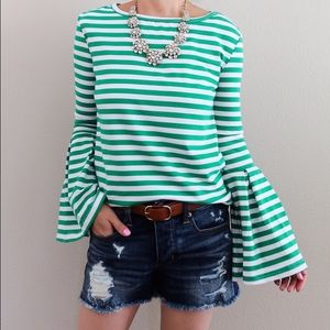 Tops - Green and white striped bell sleeve top