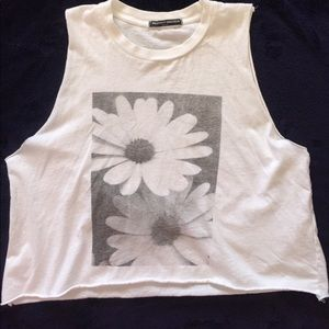 Brandy Melville white sunflower muscle t crop