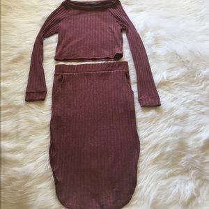 Women's long sleeve Crop Top and Skirt set