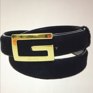 Gucci Accessories - Gucci G Logo Buckle Fur Belt