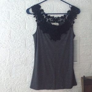 Areve Tops - Grey tank with black crochet lace