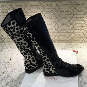 Arche Shoes - Arche Leather/Calf Hair Knee-High Boots (New)