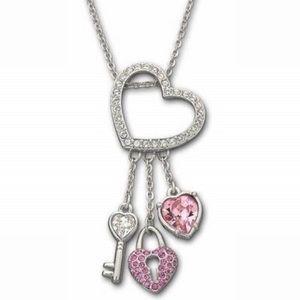 Swarovski heart, key and lock necklace