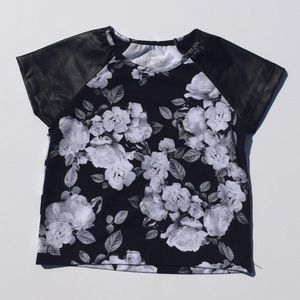 """Flowers by Zoe Other - Flowers By Zoe Floral top with """"leather"""""""