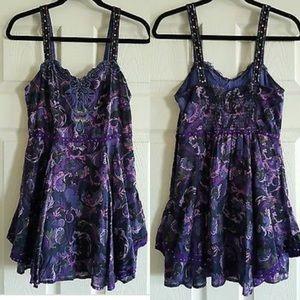 Free People Dresses & Skirts - Free People Purple Beaded Layered Mini Dress