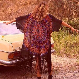 Tops - NWT Long Fringe Kimono