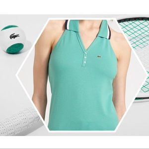 Lacoste Lime Green & Pink Halter Polo Top