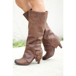naughty monkey Shoes - Perforated Button Detailing Wrapped Heel Boots