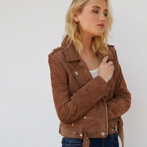 Blank NYC suede leather moto tan jacket