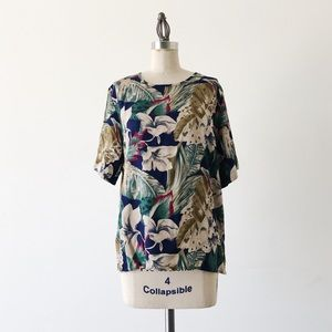 VINTAGE | 80s Tropical Print Top