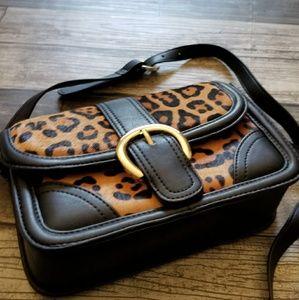 TOPSHOP leopard print flap crossbody bag