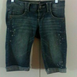 Jolt Pants - Jolt Denim Blue Jean Bermuda Shorts 5 Distressed