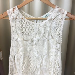 Urban Outfitters Dresses - Kimchi Blue Crochet Lace Dress in Off White