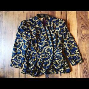 richard warren Jackets & Blazers - Vintage Peplum Chain Print Blazer
