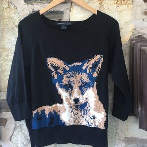 French Connection Sweaters - French Connection blk sweater w/ tan/blue fox Sz s