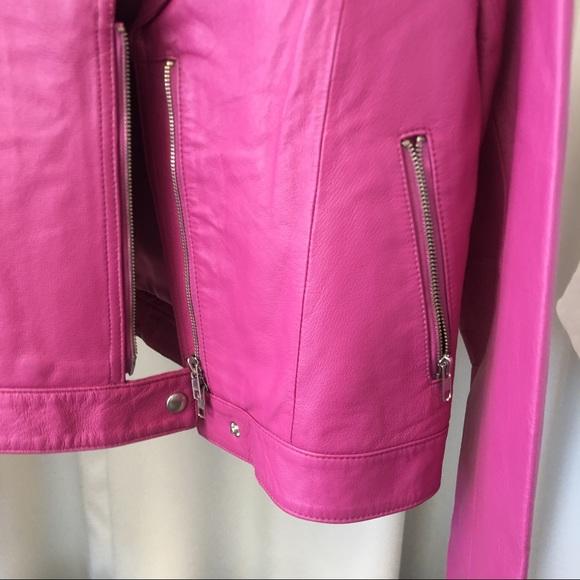 La Vie Jackets & Coats - Fuchsia Faux Leather Moto Jacket