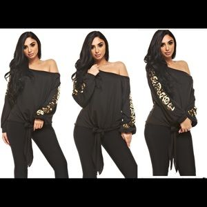 "Tops - New Black ""Savage"" Boat Neck Off The Shoulder top"