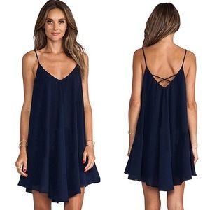 "Dresses & Skirts - New❗️""Julia"" ll Navy Chiffon Criss-Cross Dress 🌸"
