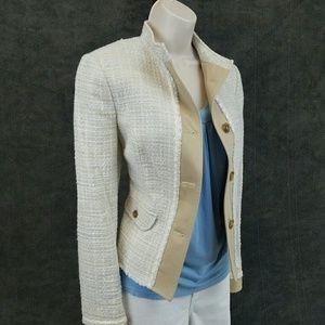 Benetton Jackets & Blazers - Benetton tweed jacket: tan, blue, & white