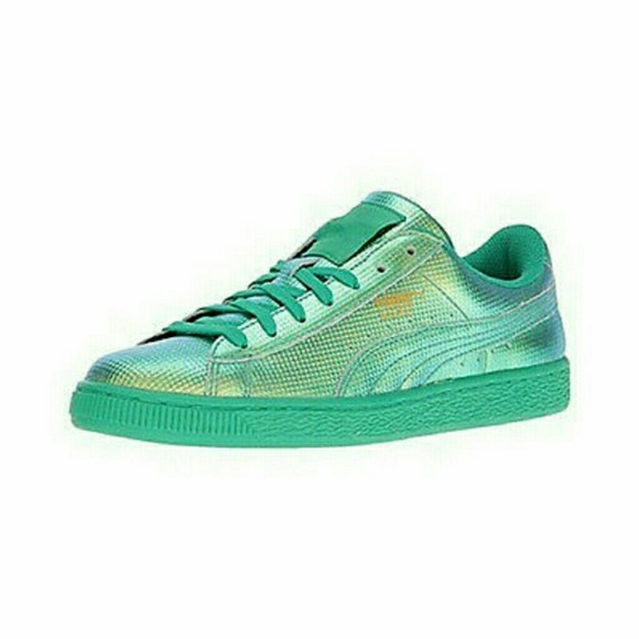 Puma Basket Holographic Green Flash Sneakers 9 NEW 928b72d35