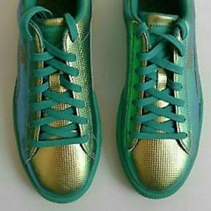Nike Shoes - Puma Basket Holographic Green Flash Sneakers 9 NEW 8bb5f1409
