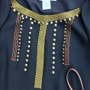 Charlotte Ronson Tops - Charlotte Ronson studded & embroidered top