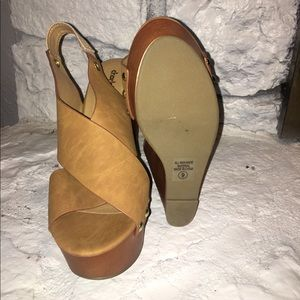 Charlotte Russe Shoes - Tan Wedges, sling back with stud detail.