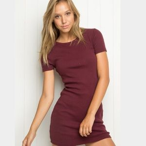 Brandy Melville Maroon Bodycon Ribbed Dress