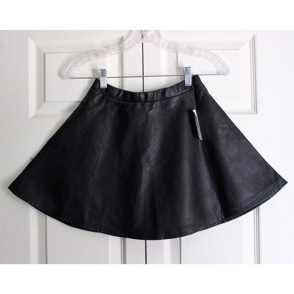 Timing Dresses & Skirts - black faux leather skater circle mini skirt