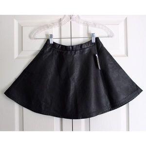 Timing Skirts - black faux leather skater circle mini skirt