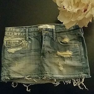 A&F Destroyed Jean Skirt