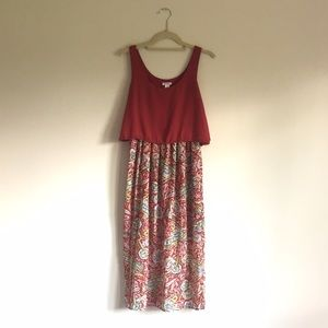 Xhilaration Red and Green Patterned Maxi Dress