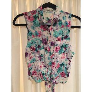 Millau Tops - LF Millau Bright Floral Tie Button down Top 👗🌺🌸