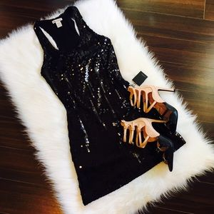 Forever 21 racer back black sequin night out dress