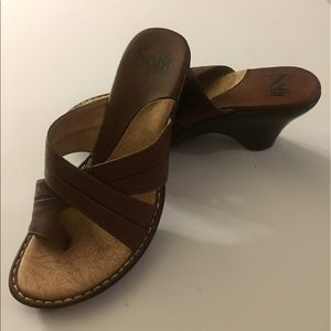 SOFFT Brown Leather Wedge Sandal
