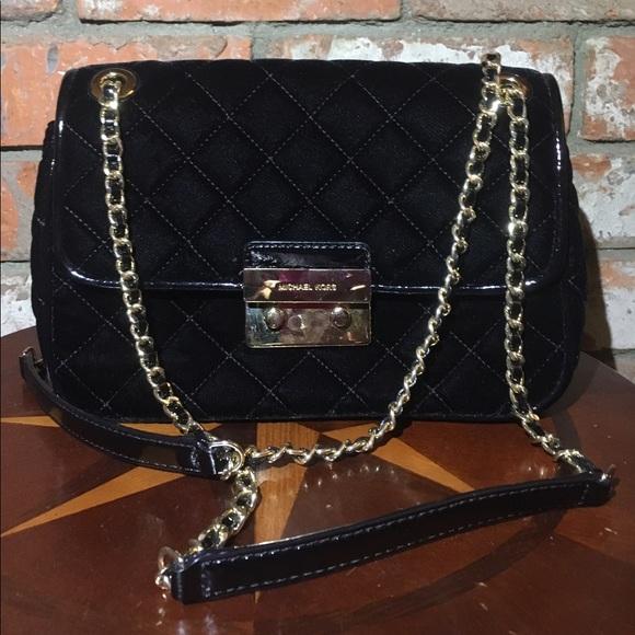 1ab3a5147ddb9 Michael Kors Sloan Large Velvet Chain Shoulder Bag