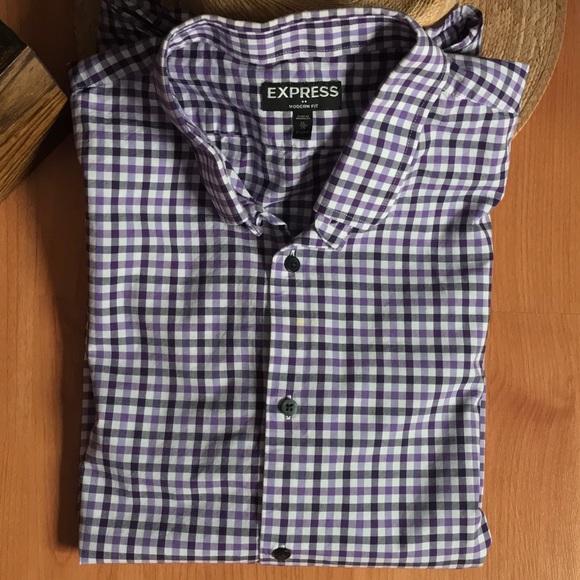 Express express men 39 s plaid modern fit dress shirt xl for Modern fit dress shirt