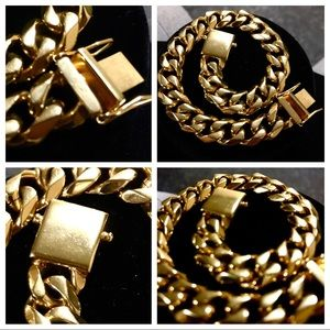 "Other - 18K Gold Plated Cuban Link Bracelet (9"")"
