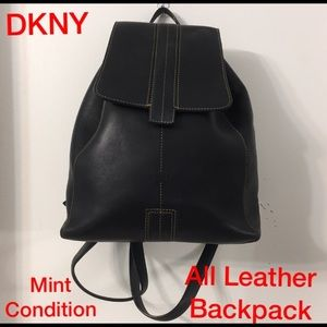 DKNY all leather back pack. Mint Condition