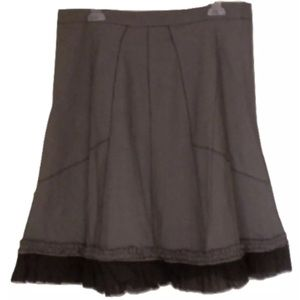 Tweed Skirt knee length Ruffled Trim