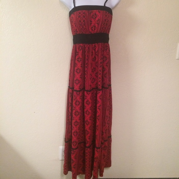 Energie Dresses Red And Black Maxi Dress M Poshmark
