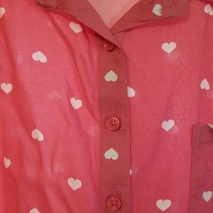 Michael Kors Tops - Faded Glory Pink Heart Print Blouse