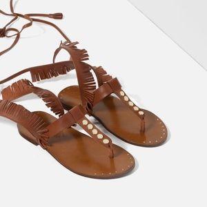 NWT Zara Fringed Gladiator Flat Lace Up Sandals